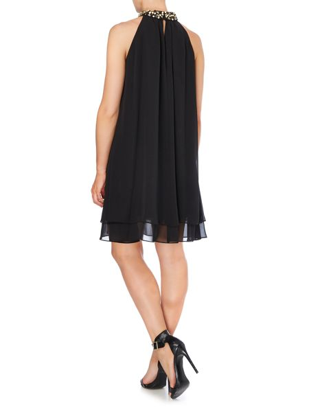 Untold Chiffon shift dress with beaded neckline