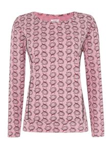 Therapy All Over Print Bunny Woven Mix Long Sleeve Top