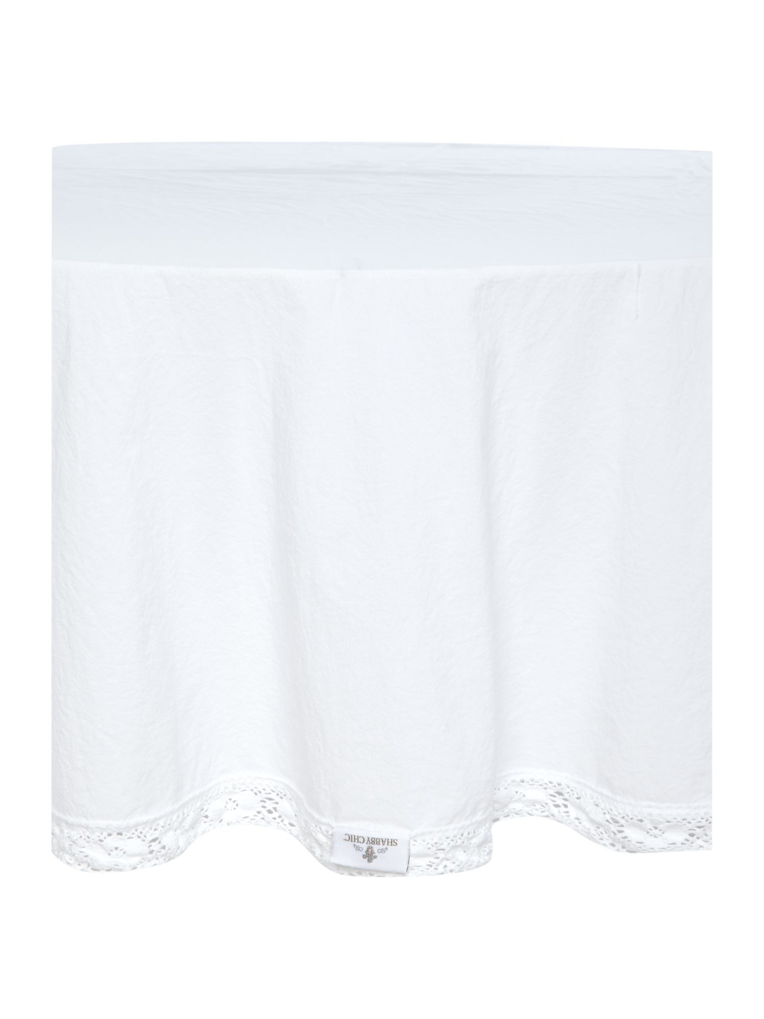 Image of Shabby Chic Lace Trim Round Tablecloth