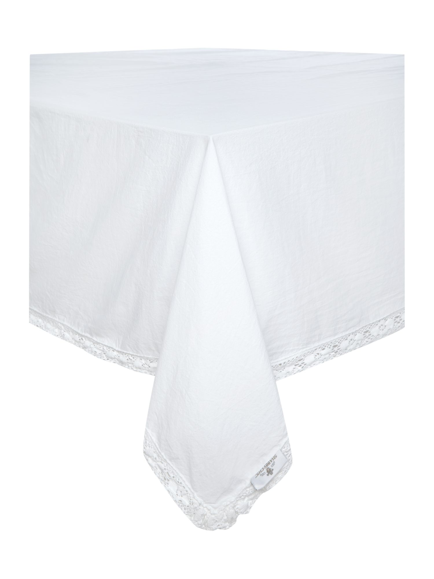 Image of Shabby Chic Lace Trim Tablecloth 140 x 180cm
