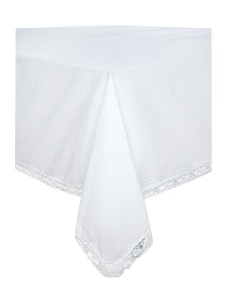 Shabby Chic Lace Trim Tablecloth 140 x 180cm
