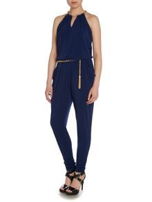 Sleeveless chain neck jumpsuit with belt