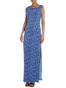 Short sleeve riviera print maxi dress