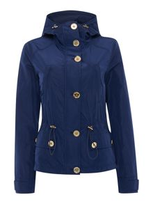 Short parka jacket with gold buttons