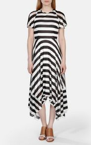 Draped bold stripe jersey dress