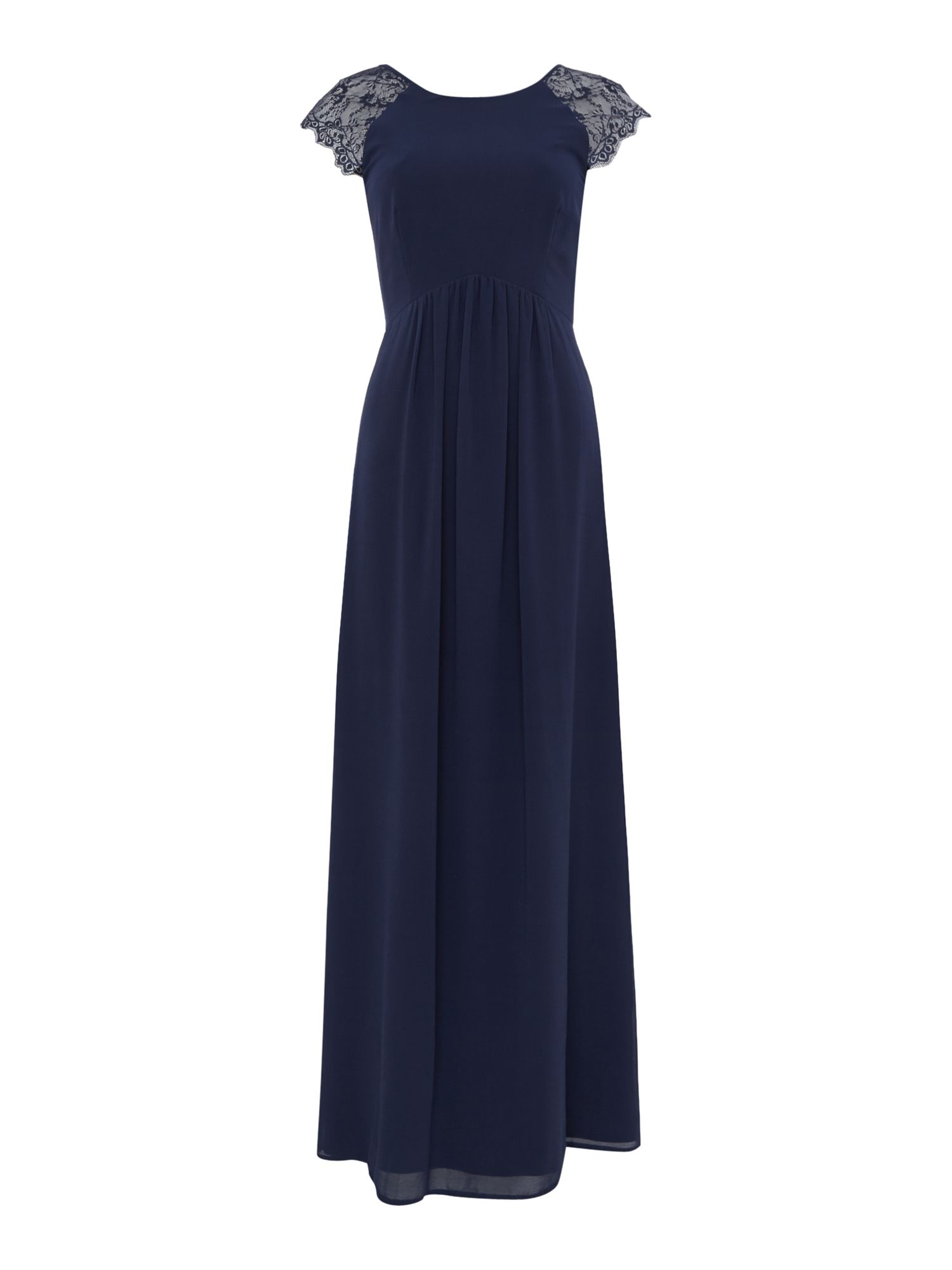 Elise Ryan Elise Ryan Cap Sleeved Lace Shoulder Maxi Dress, Navy