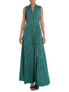 Leopard crossover top maxi dress