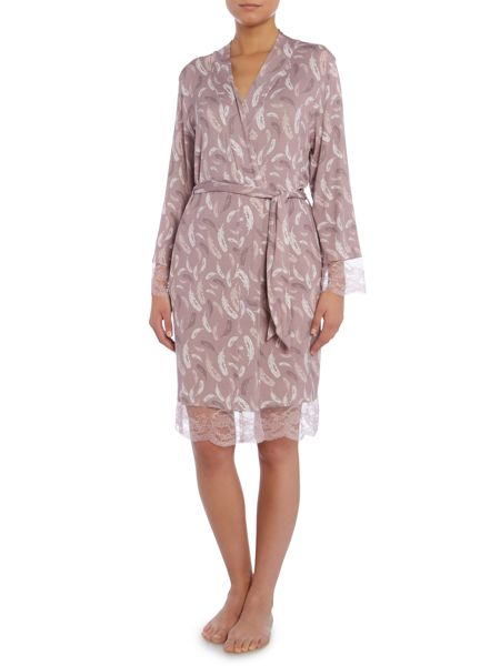 Linea Falling Feather Jersey Print Robe