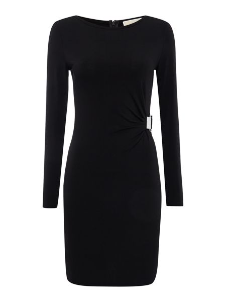 Michael Kors Long sleeve jersey buckle tie dress