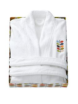 Embroidered bath robe white small/medium