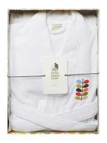 Orla Kiely Embroidered bath robe white small/medium