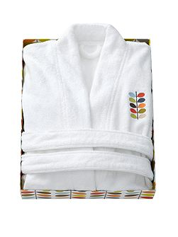 Embroidered bath robe white large