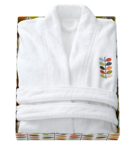 Orla Kiely Embroidered bath robe white large