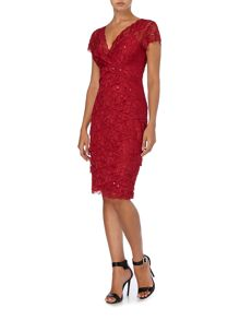 JS Collections Lace sequin shutter dress