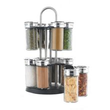 Stainless steel filled 16pc round spice rack