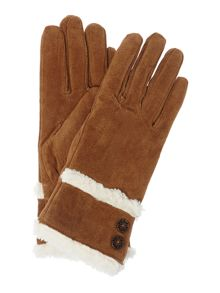 Double Button Detail and Shirpa Trim Suede Glove