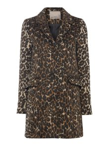 Long Sleeved Leopard Print Coat