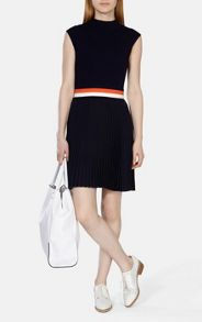 Knit Dress With Pleated Woven Skirt