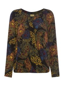 Oriental printed wrap blouse with hardwear
