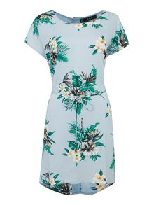 Vila Floral Tie Waist Tunic Dress