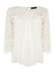 Vila Lace Sleeve Pleated Front Top