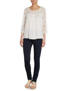 Lace Sleeve Pleated Front Top