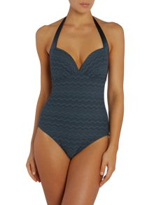 Zig Zag Halter Neck Swimsuit