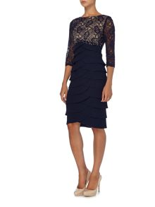 Eliza J Beaded empire waist dress with 3/4 sleeves