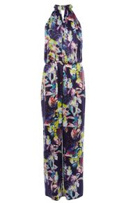 Silk Satin Floral Print Fluid Jumpsuit