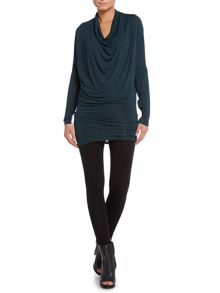 Label Lab Jersey knit cowl long sleeve dress
