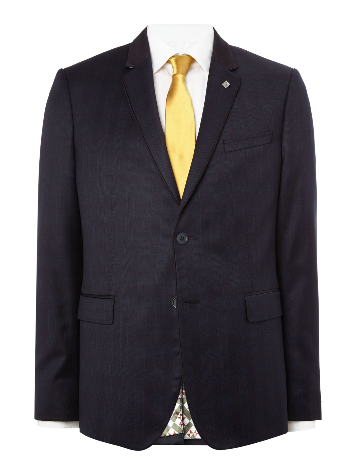 Mens Ted Baker Uncoot Satin Check Suit Jacket Navy