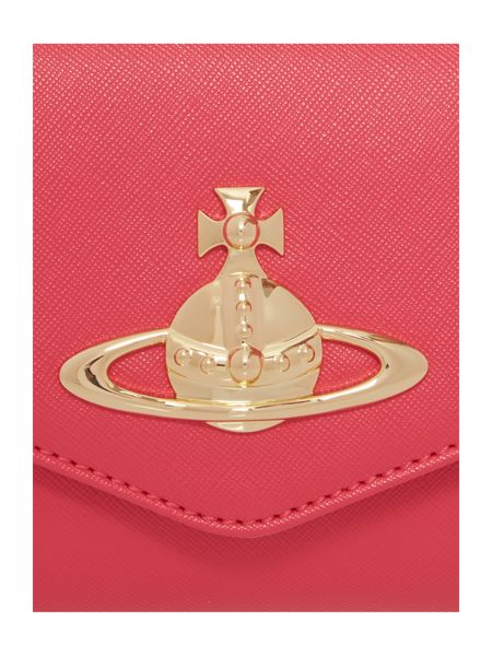 Vivienne Westwood Divina coral small flap over cross body bag