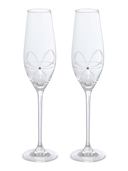 Linea Swarovski bow crystal toasting flute set of 2