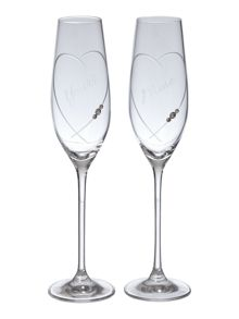 Linea Swarovski his & her crystal toasting flute set 2