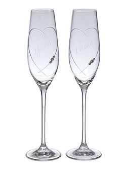 Toasting flute his & her