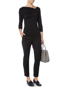Twist cowl plain jersey top