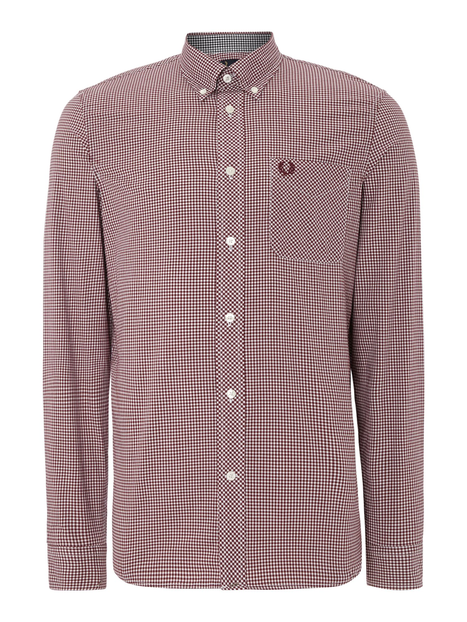 Mens Fred Perry Gingham Classic Fit Long Sleeve Shirt Mahogany