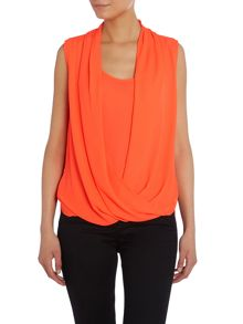 Sleeveless draped wrap top