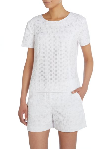 Vince Camuto Short sleeve eyelet top