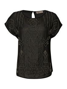 Label Lab Tribal beaded sheer blouse