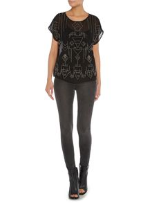 Tribal beaded sheer blouse