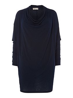 Plus size lightweight cowl knit dress