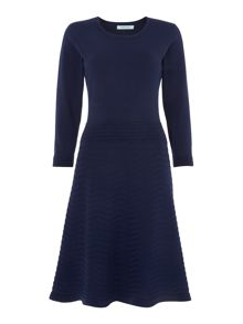 Navy knitted dress with full skirt