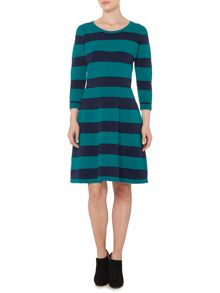 Green and navy knitted stripe dress