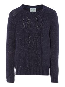 Girls Cable Knit Sparkly Jumper