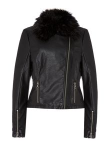 PU Portbrush Fur Collar Biker Jacket