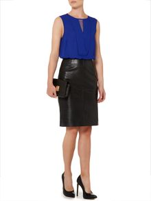 Linea Leather pencil skirt