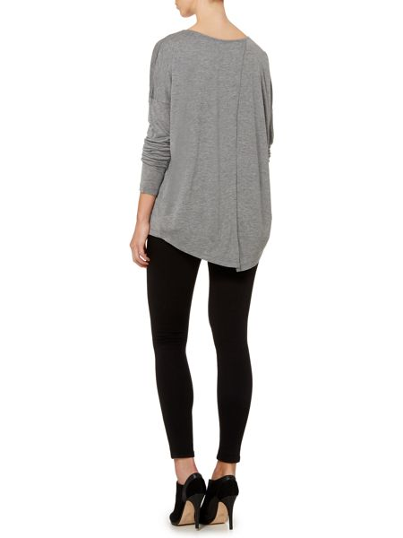 Gray & Willow Cai cross-over split back long sleeve top