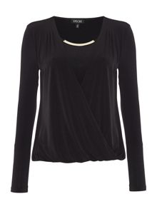 Drape front top with necklace detail