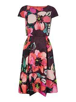 Floral print dress with layered top